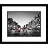 Framed Art Print 'Red Bike on Cobblestone Street' by M. Bednarek 21 x 17-inch