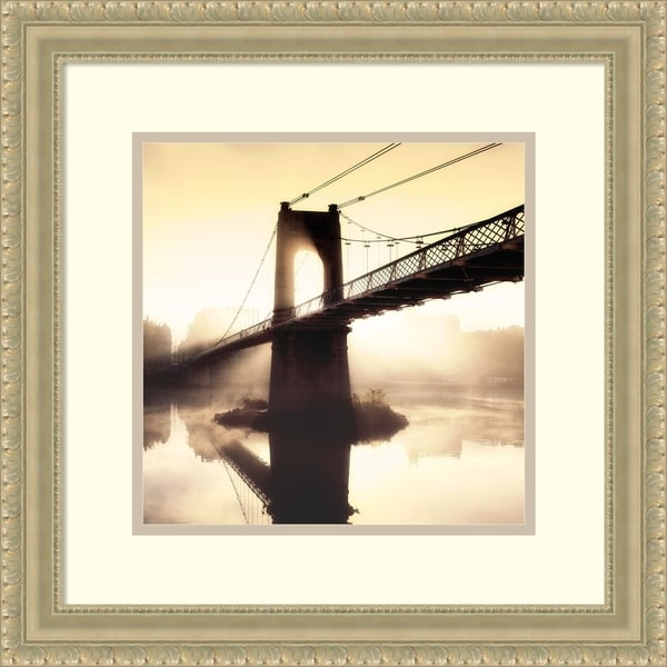 Framed Print 'Footbridge in the Setting Sun' by P. Frederic 19x19-in