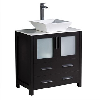 "Fresca Torino 30"" Espresso Modern Bathroom Cabinet w/ Top & Vessel Sink"