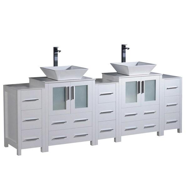 """Fresca Torino 84"""" White Modern Double Sink Bathroom Cabinets w/ Tops & Vessel Sinks"""
