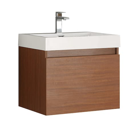 Fresca Nano Teak Modern Bathroom Cabinet w/ Integrated Sink