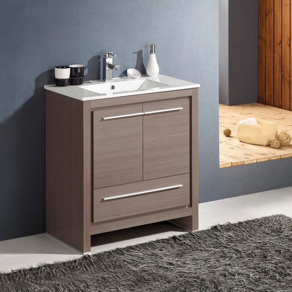 Fresca Allier 30-inch Grey Oak Modern Bathroom Cabinet with Sink