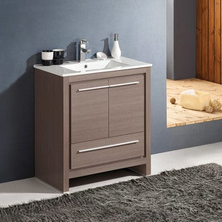 fresca allier 30 inch grey oak modern bathroom cabinet with sink