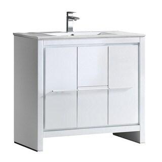 "Fresca Allier 36"" White Modern Bathroom Cabinet w/ Sink"
