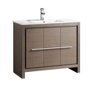 "Fresca Allier 40"" Grey Oak Modern Bathroom Cabinet w/ Sink"
