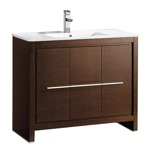 "Fresca Allier 40"" Wenge Brown Modern Bathroom Cabinet w/ Sink"