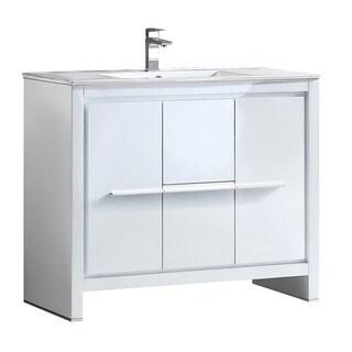 Fresca Allier 40-inch White Modern Bathroom Cabinet with Sink