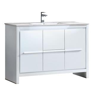 Fresca Allier 48-inch White Modern Bathroom Cabinet w/ Sink