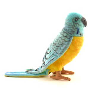 Hansa 6 Inch Plush Budgie Blue and Yellow Parakeet