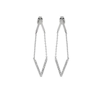 Eternally Haute Pave Chevron Earrings with Swarovski Element Crystals