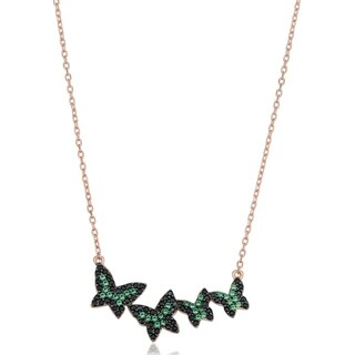 Rose Gold Over Sterling Silver Black and Green Nano Glass Fremada Butterfly Necklace (18 inches)|https://ak1.ostkcdn.com/images/products/17665022/P23875207.jpg?_ostk_perf_=percv&impolicy=medium