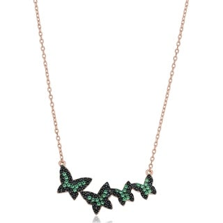 Rose Gold Over Sterling Silver Black and Green Nano Glass Fremada Butterfly Necklace (18 inches)