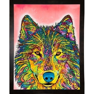 "Wolf Framed Print 29.5""x23"" by Dean Russo- Exclusive"