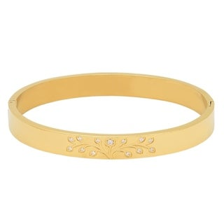 Piatella Ladies Gold Tone Cubic Zirconia Tree of Life Bangle in 2 Colors (2 options available)