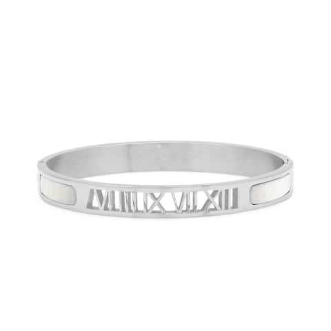 Piatella Ladies Stainless Steel Roman Numeral Hinge Bangle with Mother of Pearl in 2 Colors