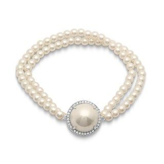 Piatella Ladies Simulated Pearl Beaded Bracelet with Shell Pearl in 3 Colors (Option: Rose)