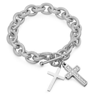 Piatella Ladies Gold Tone Cubic Zirconia Cross Charm Bracelet