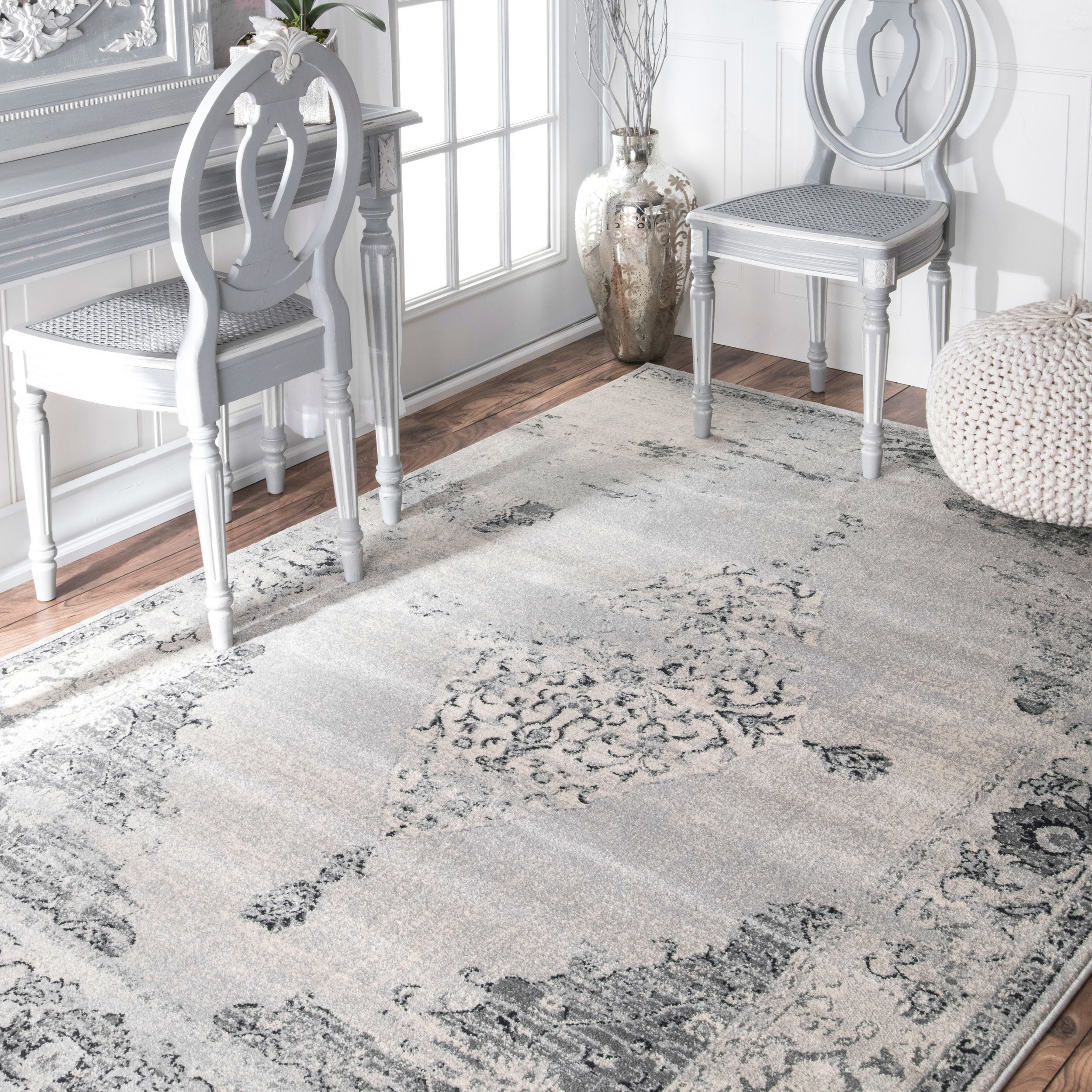 Shop Nuloom Traditional Vintage Abstract Light Grey Rug 10 X 14