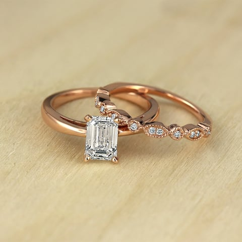 Auriya Vintage Stackable 1 1/6ctw Emerald-Cut Solitaire Diamond Engagement Ring Set 14K Gold