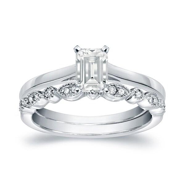 Auriya 14k Gold 1 2ct TDW Emerald Cut Diamond Vintage Style Wedding Ring Sets