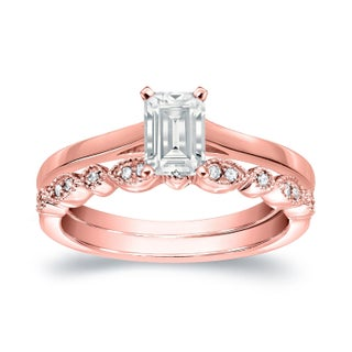 Auriya 14k Gold 1/2ct TDW Emerald Cut Diamond Vintage Style Wedding Ring Sets - White H-I (More options available)