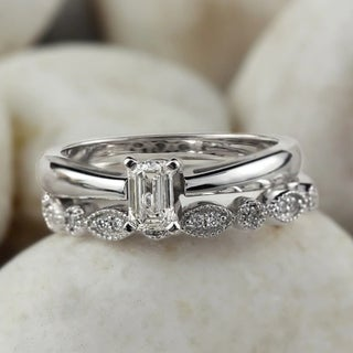 14k Gold 1/2ct TDW Vintage Stackable Emerald-Cut Solitaire Diamond Engagement Ring Set by Auriya - White H-I