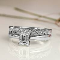 Auriya 14k Gold 1ct TDW Emerald Cut Diamond Vintage Style Wedding Ring Sets - White H-I