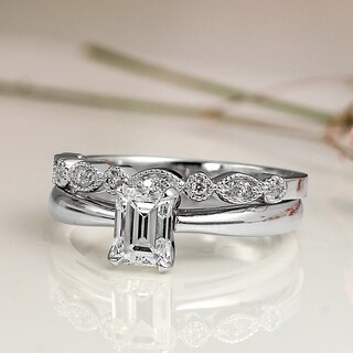 14k Gold Vintage Stackable 1ct TDW Emerald-Cut Solitaire Diamond Engagement Ring Set by Auriya - White H-I