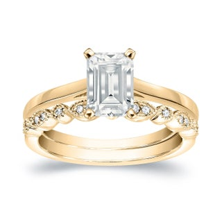 Auriya 14k Gold 3/4ct TDW Emerald Cut Diamond Vintage Style Wedding Ring Sets - White H-I (More options available)