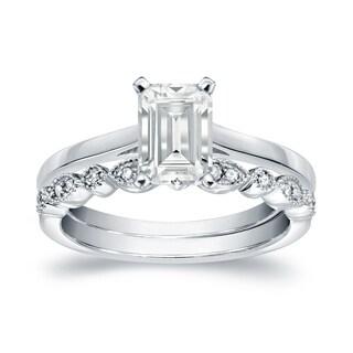 Auriya 14k Gold 3/4ct TDW Emerald Cut Diamond Vintage Style Wedding Ring Sets - White H-I