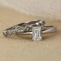 Auriya 14k Gold 7/8ct TDW Emerald Cut Diamond Vintage Style Wedding Ring Sets - White H-I