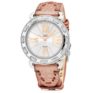 Fendi Women's F81336H.SSD7S 'Selleria' Silver Dial Metallic Rose Leather Strap Swiss Quartz Watch