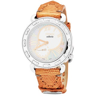 Fendi Women's F81334H.TSB2S 'Selleria' Mother of Pearl Dial Sandy Brown Leather Strap Swiss Quartz Watch