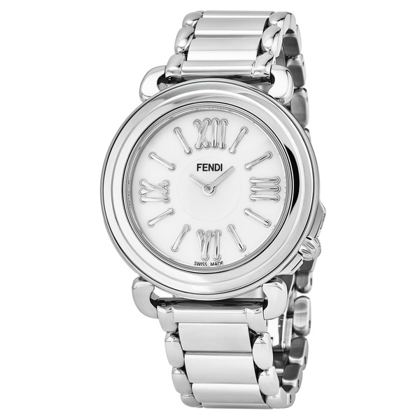 Fendi Women's 'Selleria' Mother of Pearl Dial Stainless Steel Bracelet Swiss Quartz Watch