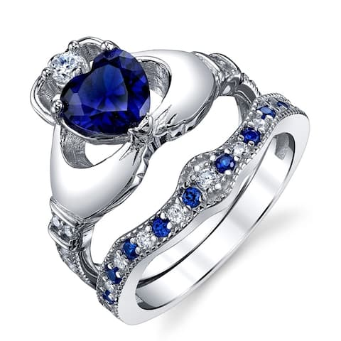 Oliveti Sterling Silver Claddagh Engagement Ring Bridal Set Simulated Sapphire Cubic Zirconia