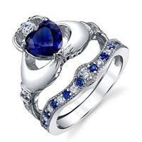 Oliveti Sterling Silver Claddagh Engagement Ring Bridal Set Simulated Sapphire Cubic Zirconia - Blue