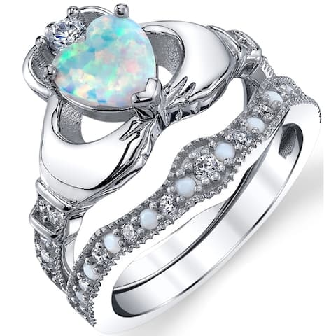 Oliveti Sterling Silver Claddagh Engagement Ring Bridal Sets White Simulated Opal and CZ