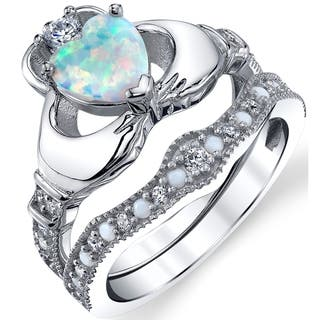 oliveti sterling silver claddagh engagement ring bridal sets white simulated opal and cz - Claddagh Wedding Ring Sets
