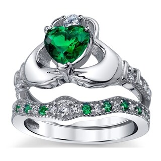 Oliveti Sterling Silver Claddagh Engagement Ring Bridal Sets Simulated Emerald Cubic Zirconia - Green