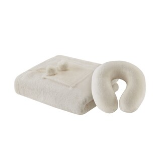 Madison Park Plush Solid Angel Wrap and Travel Pillow Set
