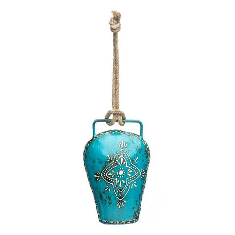 Handmade Henna Treasure Bell - Large Teal (India)