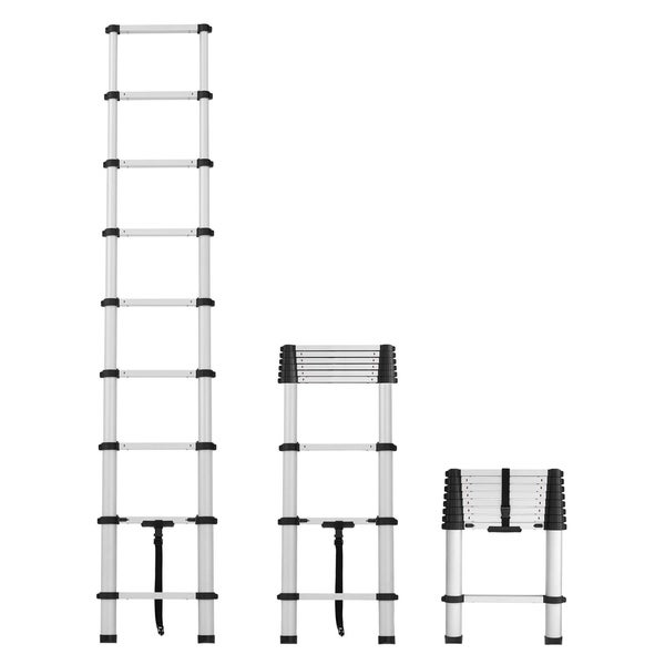 Cosco SmartClose Silver Telescoping Aluminum Ladder with Pinch-Free, Soft-Close Locking Mechanism