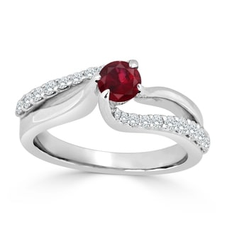 Auriya 14K Gold 1/4ct Ruby and 1/2ct TDW Diamond Engagement Ring (H-I, SI1-SI2) - Red