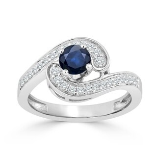 Auriya 14K Gold 1/2ct Blue Sapphire and 1/4ct TDW Diamond Engagement Ring