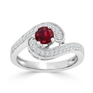 Auriya 14K Gold 1/2ct Ruby and 1/4ct TDW Diamond Engagement Ring (H-I, SI1-SI2) - Red