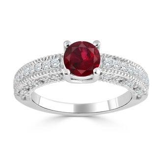 Auriya 14K Gold 3/4ct Ruby and 1/3ct TDW Diamond Engagement Ring (H-I, SI1-SI2) - Red