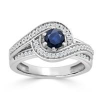 Auriya 14K Gold 1/2ct Blue Sapphire and 1/2ct TDW Diamond Engagement Ring