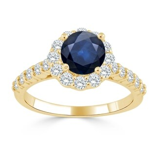 Auriya 14K Gold 1ct Blue Sapphire and 5/8ct TDW Diamond Engagement Ring