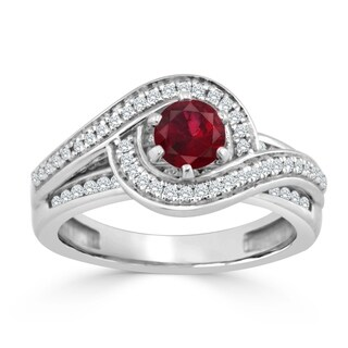 Auriya 14K Gold 1/2ct Ruby and Diamond Swirl Engagement Ring (H-I, SI1-SI2) - Red