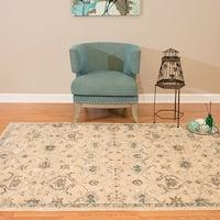 Westfield Home Royale Valdis Cream/Blue Oriental Area Rug (7'10 x 7'10)